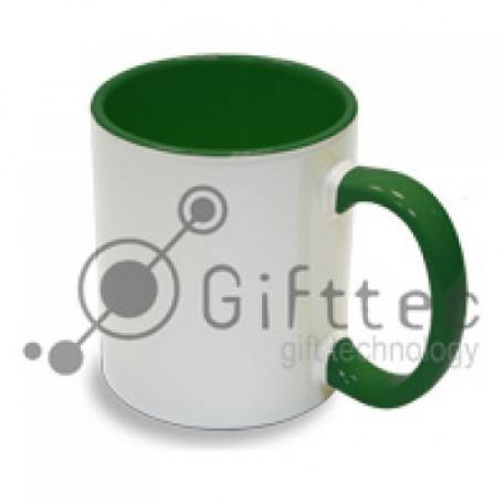Кружка зеленая внутри + ручка