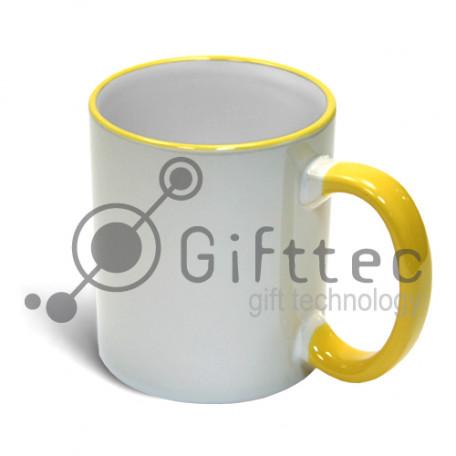Кружка желтая  + ручка