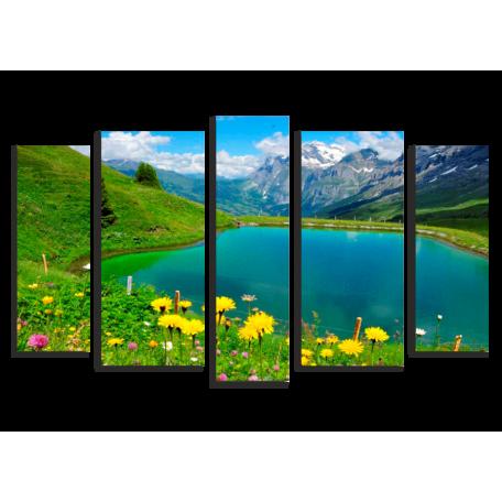 Горное озеро. Одуванчики