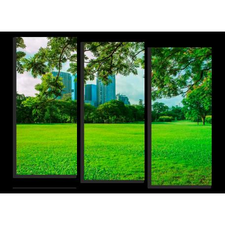 Городской парк в зеленых тонах