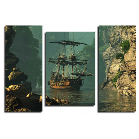 Модульная картина Парусник в бухте