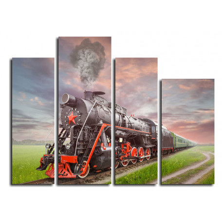 Паровоз. Retro Soviet steam locomotive