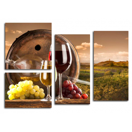 Бокалы, вино, виноградное поле